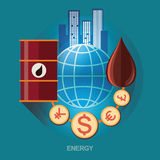 Vector concept illustration. Icon for energy saving. Energy exploration. Oil refinery. Energy for humans and economics Royalty Free Stock Image