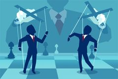 Picture of unknown manager playing people as puppets. Vector concept illustration of person manipulating people behind the scenes Royalty Free Stock Photos