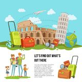 Vector concept illustration italian sights. Vector concept illustration with pile of italian sights, baggage and other travel elements with happy family with two Stock Photos