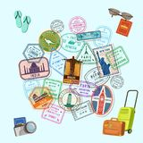 Vector concept illustration with post marks and immigration stamps all over the world and cartoon baggage, camera and royalty free illustration