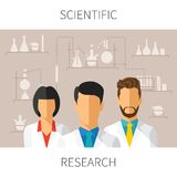Vector concept illustration of scientific research with scientists in chemical laboratory Royalty Free Stock Photos