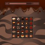 Vector concept illustration game with chocolate candies, stock illustration