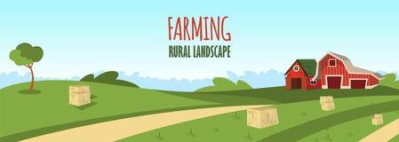 Vector concept image farming rural landscape royalty free illustration