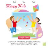 Vector Concept image Playing Happy Kids. Banner Vector Illustration of Cartoon Happy Playing Brother and Sister. Children play with a Kite. Family vacation vector illustration