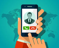 Vector concept incoming call. Hand holding smartphone. Vector concept incoming call on smartphone. Hand holding smartphone with man avatar on screen. Web Royalty Free Stock Photo