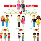 Vector concept of international family tree Royalty Free Stock Photo