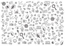 Vector concept of internet marketing and online business. Vector concept of online business. Set of hand drawn internet marketing items and elements on blue Stock Image