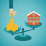 Vector concept of investment in real estate. Like townhouse Royalty Free Stock Photo