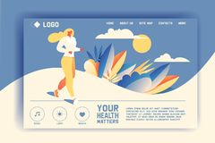 Vector concept for landing page of health promotion and wellness lifestyle. Jogging or running young woman in flat style royalty free illustration