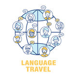 Vector concept for the language of tourism. A banner with the worlds landmarks with speech bubbles in different languages Stock Photo