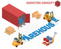 Vector concept - loaders build the word warehouse Royalty Free Stock Image