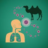 Vector concept of man and animal respiratory pathogenic MERS virus Stock Photography