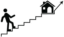Vector concept of a man or guardian climbing on stairs with thei Stock Images