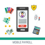 Vector concept mobile online payroll operation Stock Photography