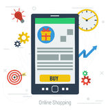 Vector concept mobile online shopping Royalty Free Stock Photography