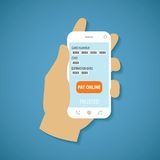 Vector concept of mobile payment on smartphone. Royalty Free Stock Photos