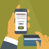 Vector concept of mobile payment on smartphone. Stock Photo