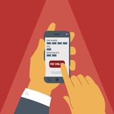 Vector concept of mobile payment on smartphone. Royalty Free Stock Photo