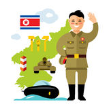 Vector Concept North Korea. Flat style colorful Cartoon illustration. Royalty Free Stock Image