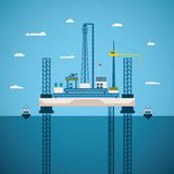 Vector concept of oil and gas offshore industry. With platform on unstable legs Royalty Free Stock Photo