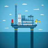 Vector concept of oil and gas offshore industry. With stationary platform Royalty Free Stock Photos