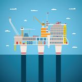 Vector concept of oil and gas offshore industry. With stationary platform Royalty Free Stock Image