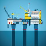 Vector concept of oil and gas offshore industry. With stationary platform Stock Photography