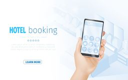 Online Hotel Booking Landing Page Template Banner vector illustration