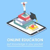 Vector concept for online education. Royalty Free Stock Image