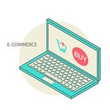 Vector concept of online shop in 3d line design Royalty Free Stock Images