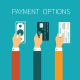 Vector concept of payment options in flat style.  Royalty Free Stock Photo