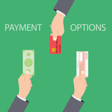 Vector concept of payment options in flat style Royalty Free Stock Images