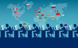 Multinational workforce on  illustration. Vector concept picture of employees from all over the world sitting at workplace and laboring Royalty Free Stock Photo