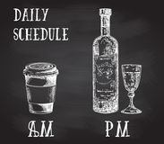 Vector concept poster with drinking habits. Coffee at the morning and alcohol in the evening. Hand drawn sketch on. Chalkboard. Cup of coffee to go and bottle Royalty Free Stock Image