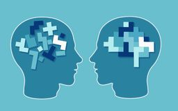 Vector concept of a puzzle head brain neurology and psychology. stock illustration
