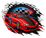 Vector Concept of Racing Car set against a Speedometer & Checkered flag. Speeding Race Car with abstract motion blur lines set against a backdrop of a Checkered Stock Photo