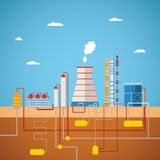 Vector concept of refinery plant for processing natural resources Royalty Free Stock Photography