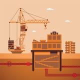 Vector concept of residential house construction process Stock Photos