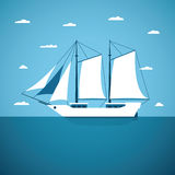 Vector concept of river ocean and sea sailing boat Stock Photo