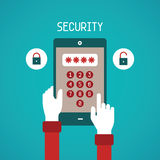 Vector concept of security system for mobile gadget in flat style Royalty Free Stock Photos