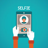 Vector concept of selfie making process with mobile gadget in flat style Royalty Free Stock Photography