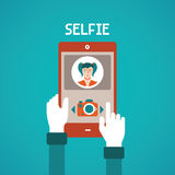 Vector concept of selfie making process with mobile gadget in flat style Royalty Free Stock Photo