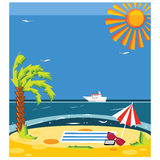 Vector concept summer beach with sand and sea in bright colorful Royalty Free Stock Photo