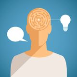 Vector concept of thinking process with maze in human head Stock Images