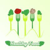 Vector concept vegetarian illustration with forks Stock Photo