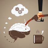 Vector concept of vigorous mind with coffee or caffeine.  vector illustration