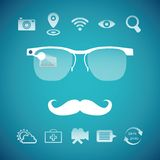 Vector concept of virtual mobile pc glasses functions. Like gps first aid search weather forecast photo video messenger translator and wireless internet Royalty Free Stock Image