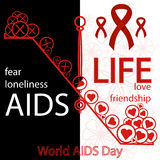 Vector concept on World AIDS Day. AIDS awareness.. Abstract vector concept on World AIDS Day. Libra, red ribbon, help to live a full life. Support and awareness Royalty Free Stock Photos