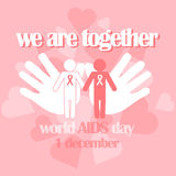 Vector concept on World AIDS Day. AIDS awareness. Vector concept on World AIDS Day. The emblem of the people who hold hands, the red ribbon. Support and Stock Images