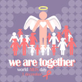 Vector concept on World AIDS Day. AIDS awareness. Vector concept on World AIDS Day. The emblem of the people who hold hands, the red ribbon. Support and Royalty Free Stock Photos